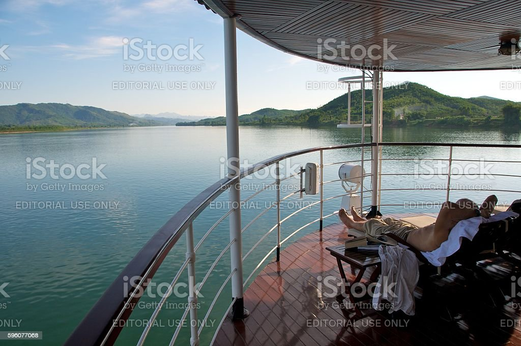 red river cruise ship stock photo