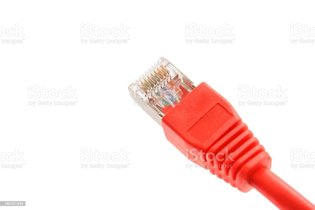 red rj45 plug isolated on white royalty-free stock photo