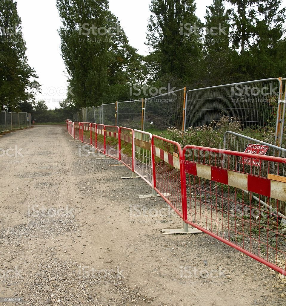 Red roadside barriers. stock photo