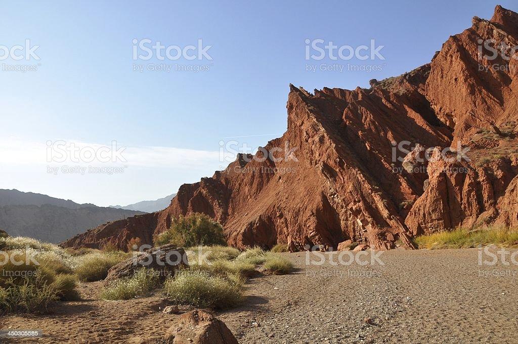 Red rock at Tianshan grand canyon royalty-free stock photo
