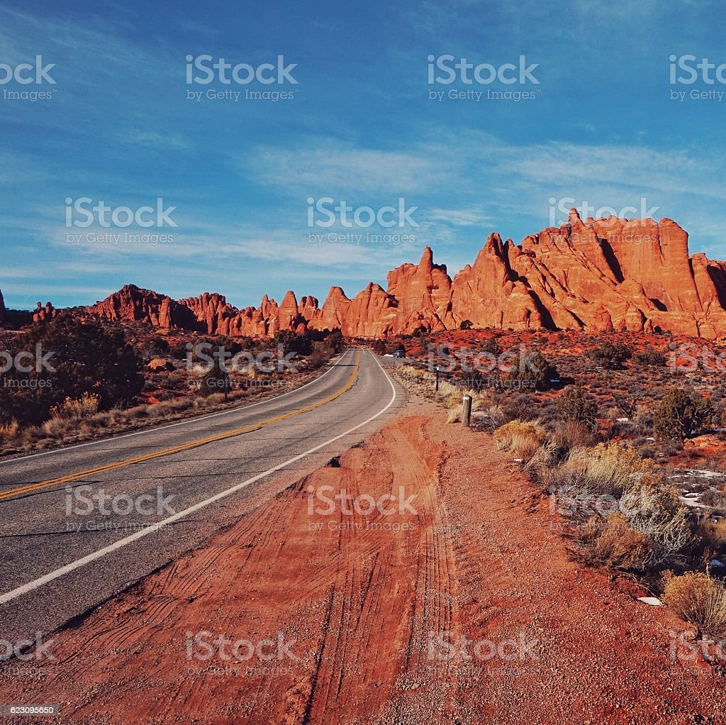 Red Rock Blue Sky, Canyon Fins, Highway Road, Arches, Utah stock photo