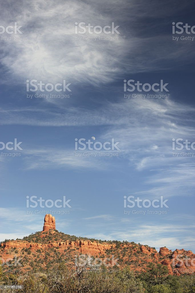 Red Rock Butte Cloud Moon Sky stock photo