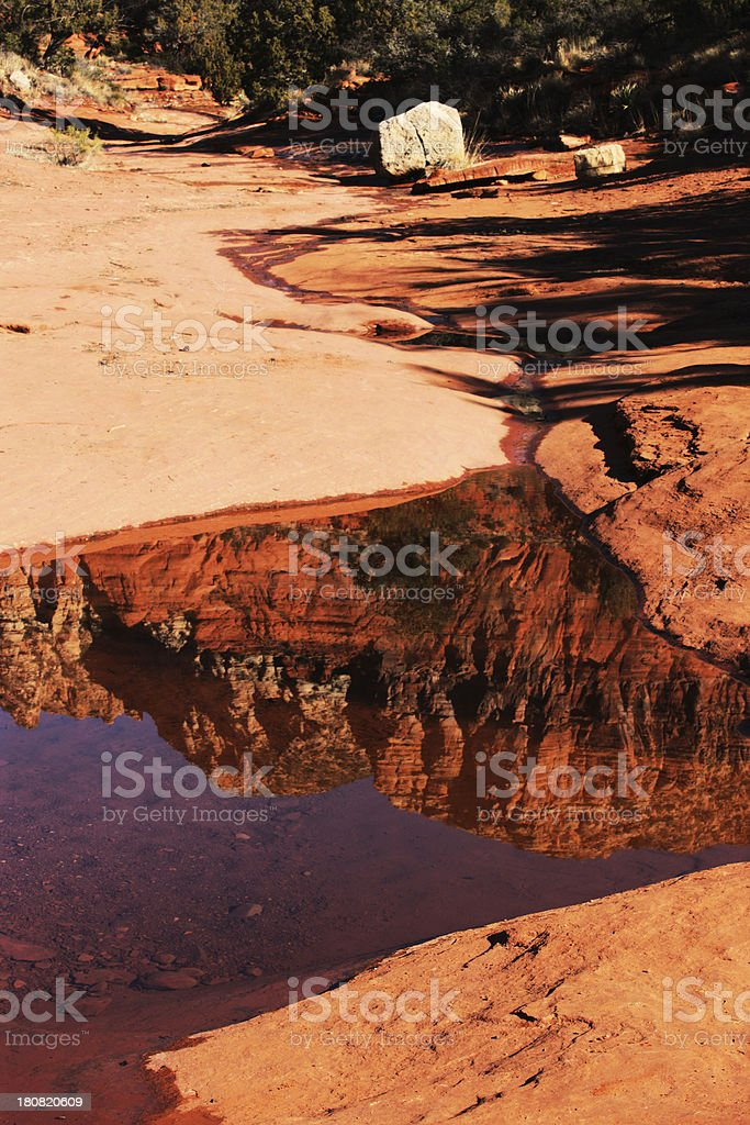 Red Rock Butte Sunrise Puddle Reflection royalty-free stock photo