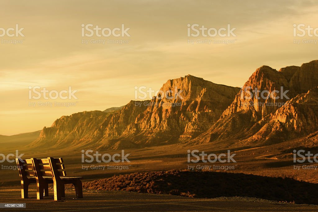 Red Rock Canyon - A Place to Sit stock photo