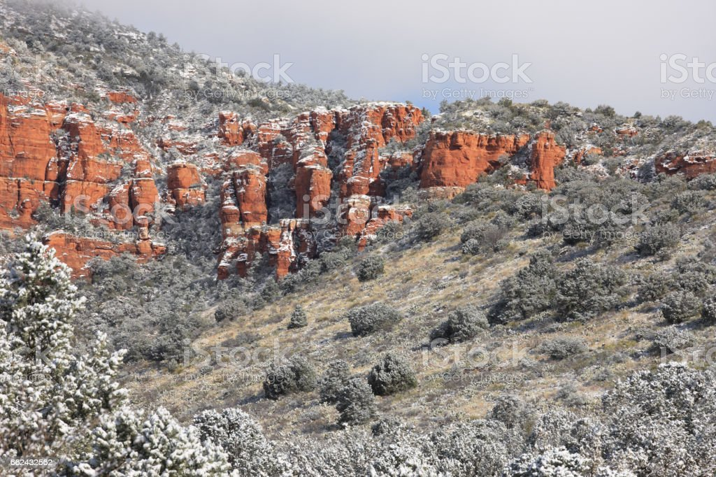 Red Rock Canyon Hoodoo Cliffs Snowy Landscape stock photo