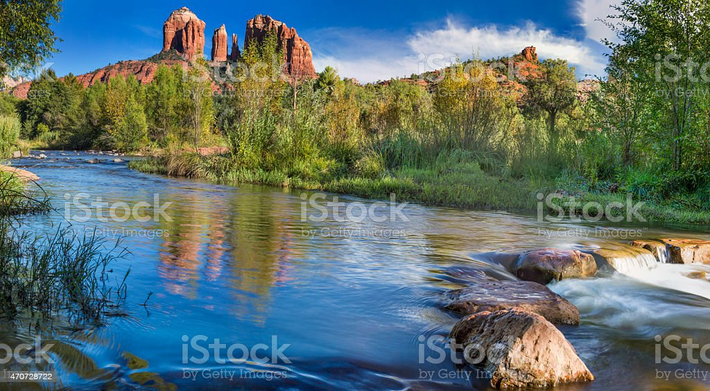 Red Rock Crossing at Cahedral Rock in Sedona Arizona stock photo