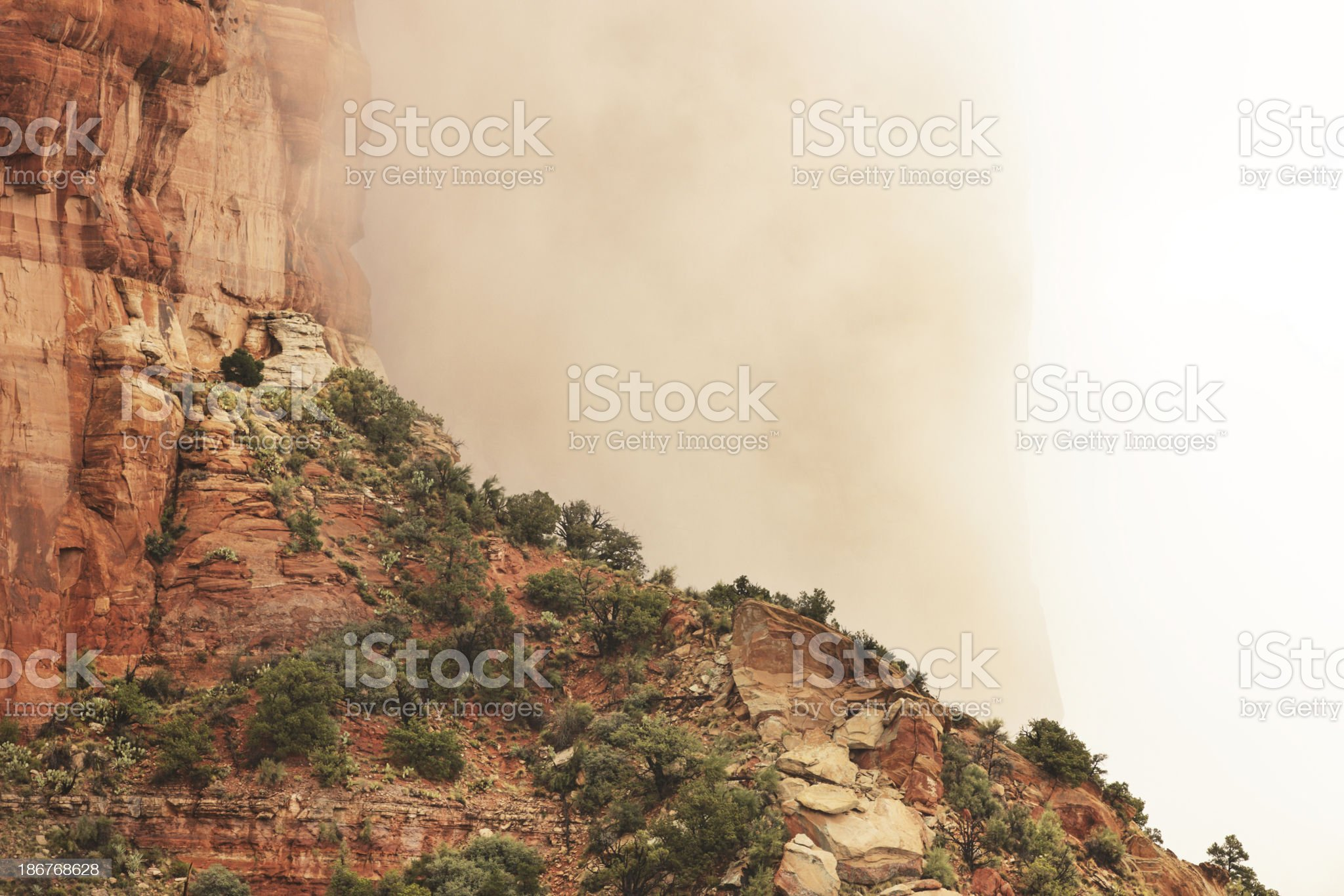 Red Rock Desert Canyon Cliff Fog royalty-free stock photo