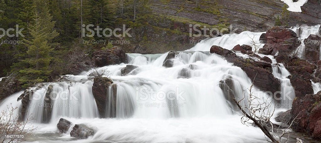 Red Rock Falls  in Glacier National Park, Montana USA royalty-free stock photo