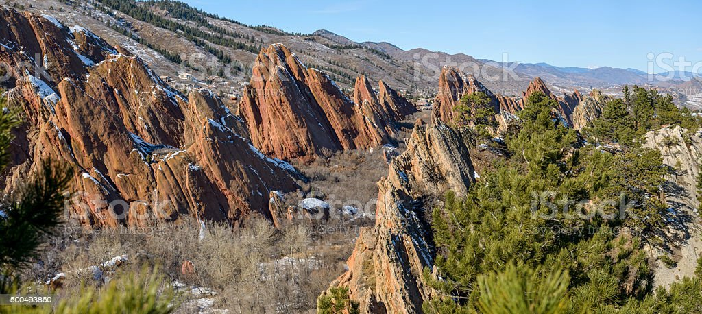 Red Rock Fountain Formations at Roxborough State Park, CO stock photo