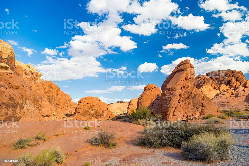 Red Rock Landscape, Valley of Fire State Park, Nevada, USA stock photo