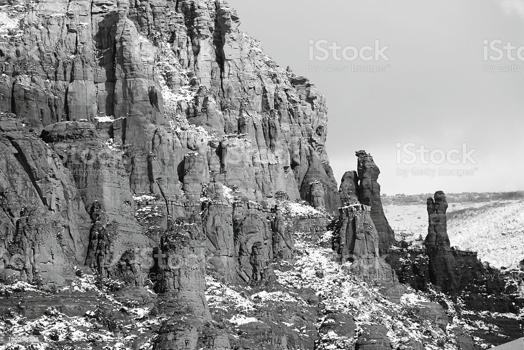 Red Rock Mountain Winter Snow royalty-free stock photo