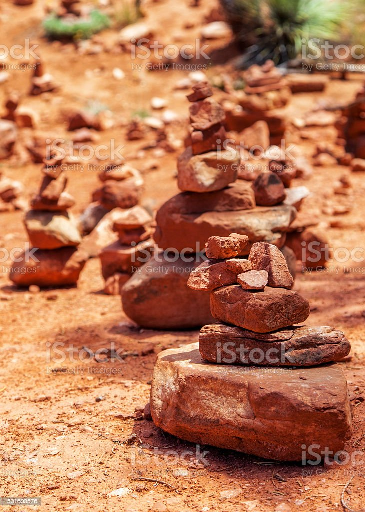Red Rock Piles Marking Vortex in Sedona stock photo