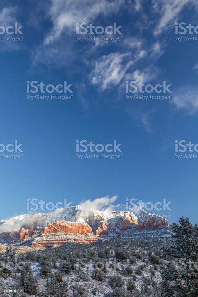 Red Rock Secret Mountain Wilderness following a snowy night, Sedona. stock photo