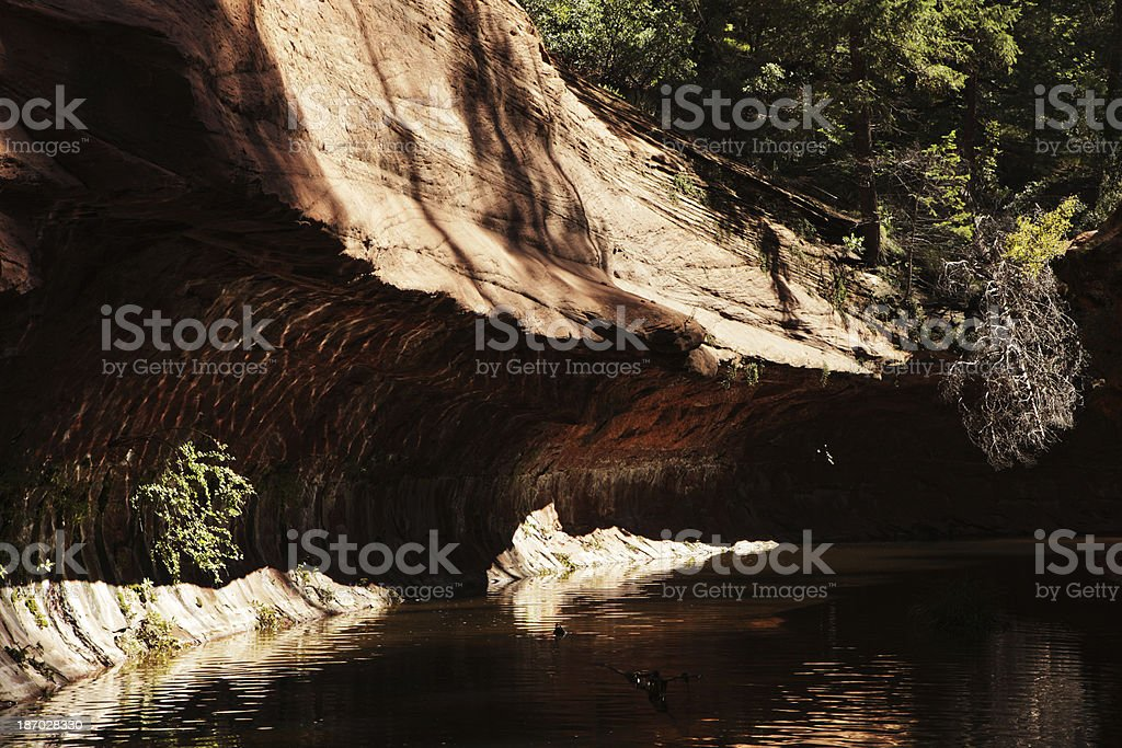 Red Rock Slot Canyon Cliff Overhang Stream royalty-free stock photo