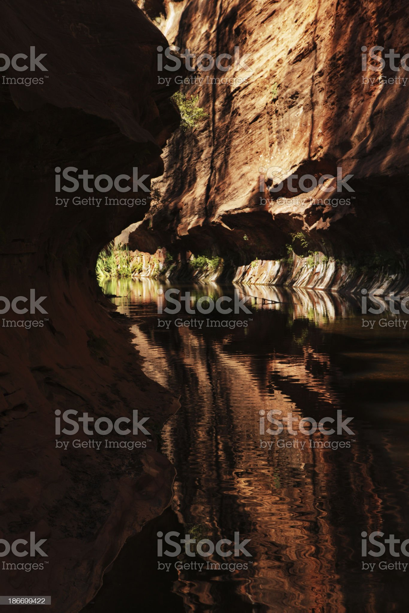 Red Rock Slot Canyon Cliff Stream Reflection royalty-free stock photo