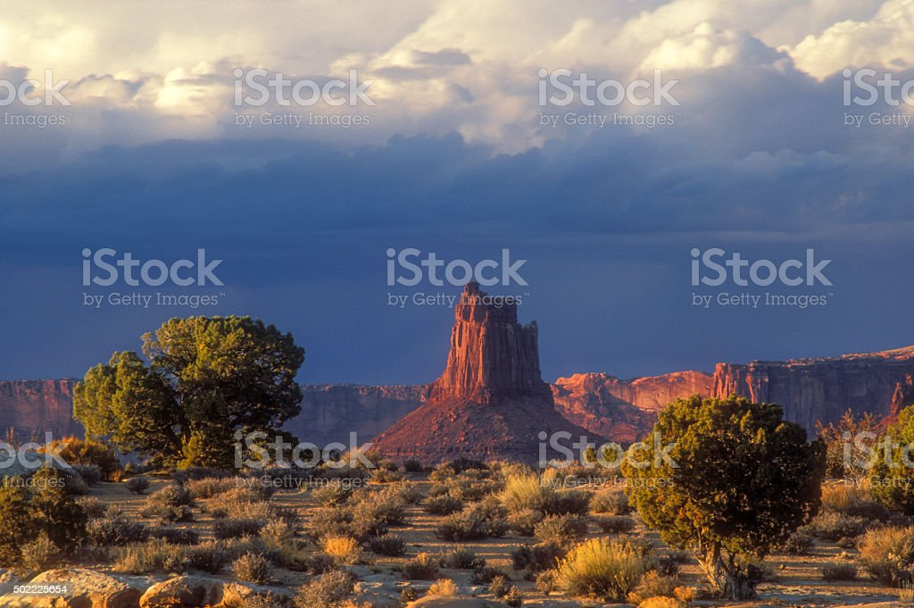 Red rock tower stock photo