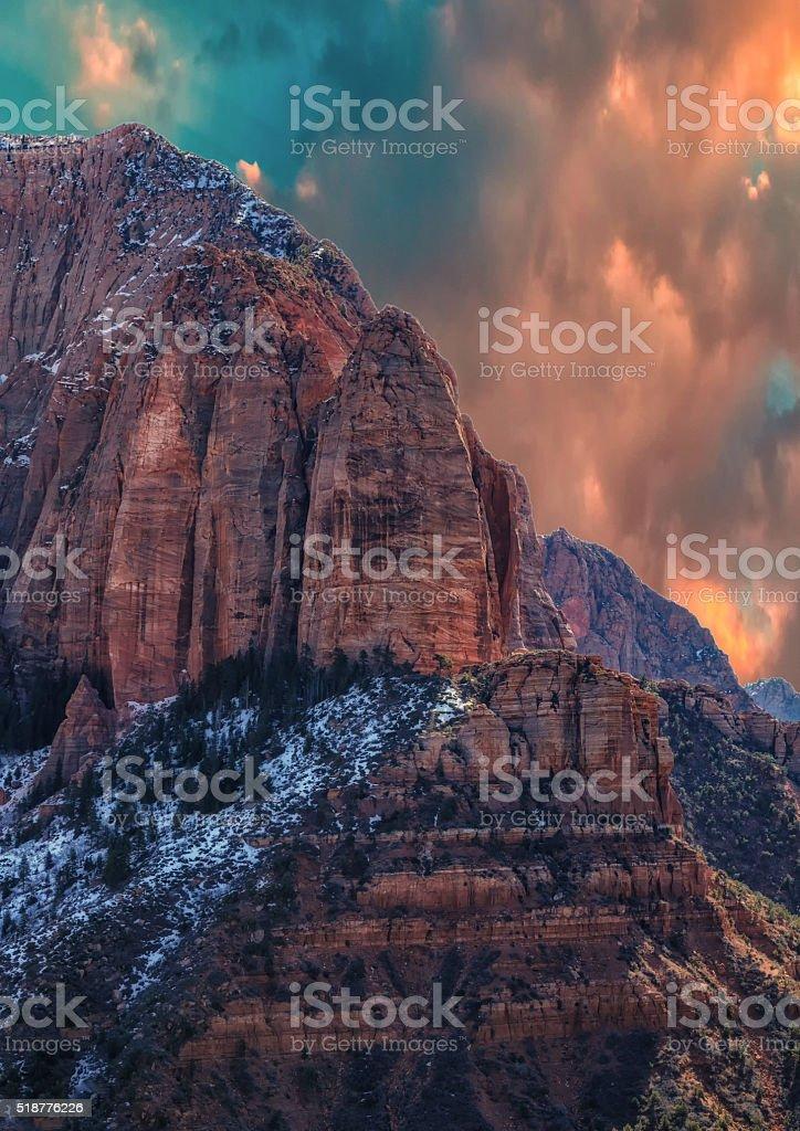 Red Rock Under a Sunrise Sky stock photo