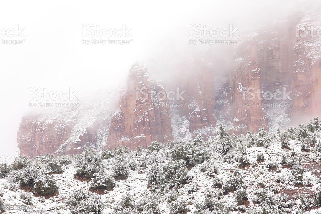 Red Rock Winter Fog Wilderness Landscape stock photo