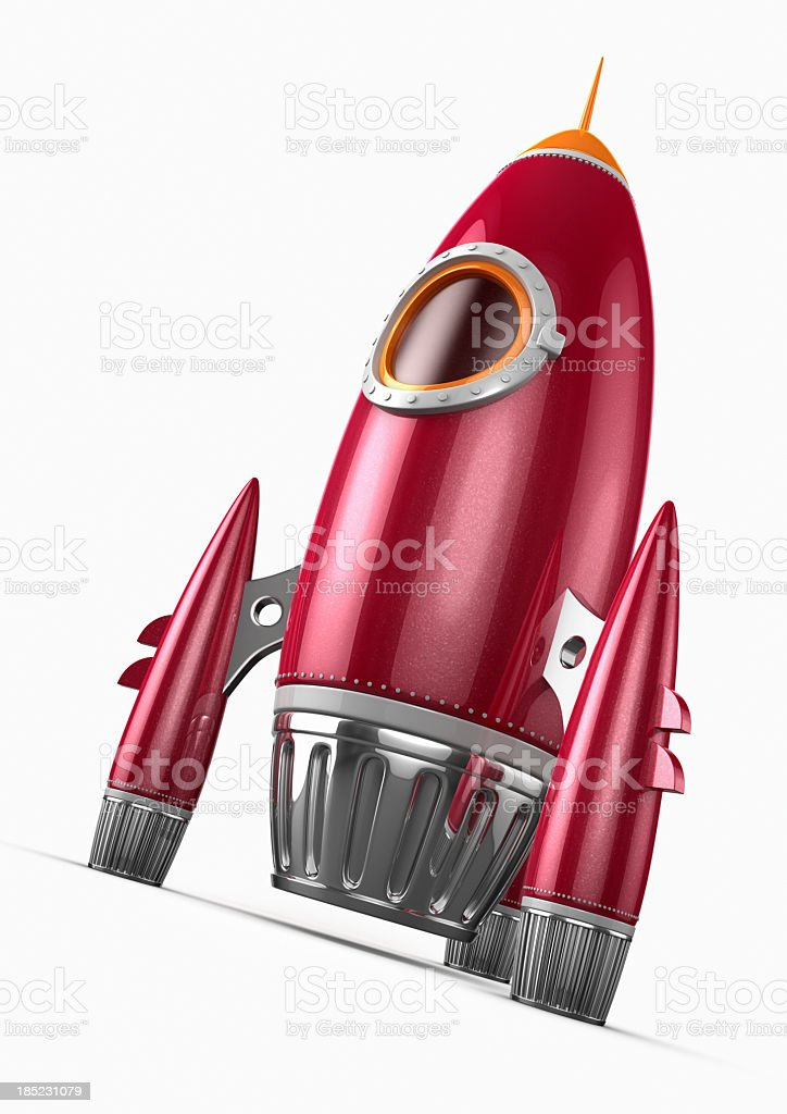 Red rocket with chrome and orange details stock photo