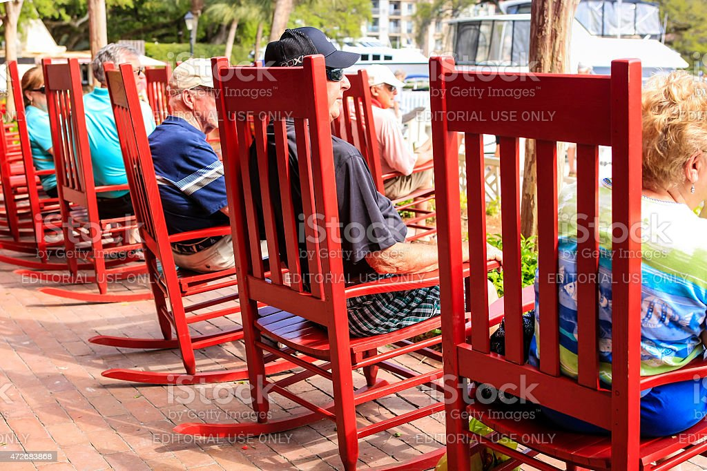 Red Rocking Chairs stock photo