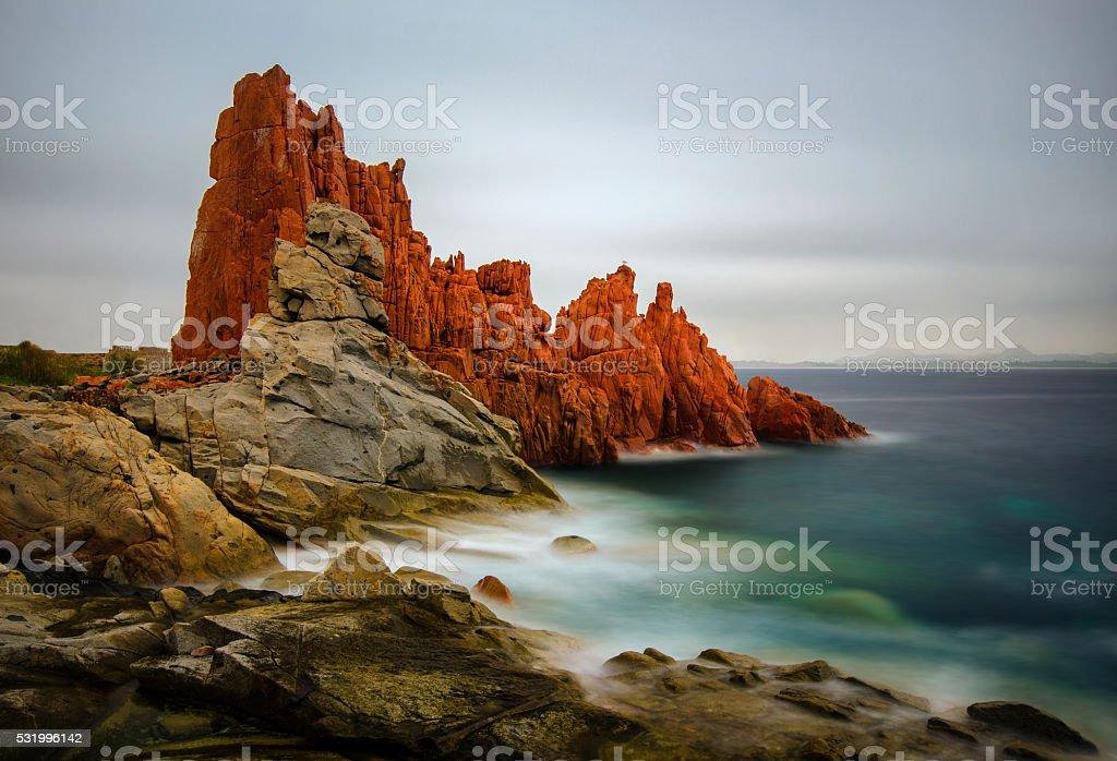 Red Rocks of Arbatax stock photo