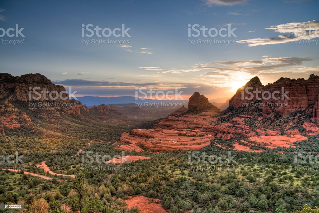 Red Rocks sunset stock photo
