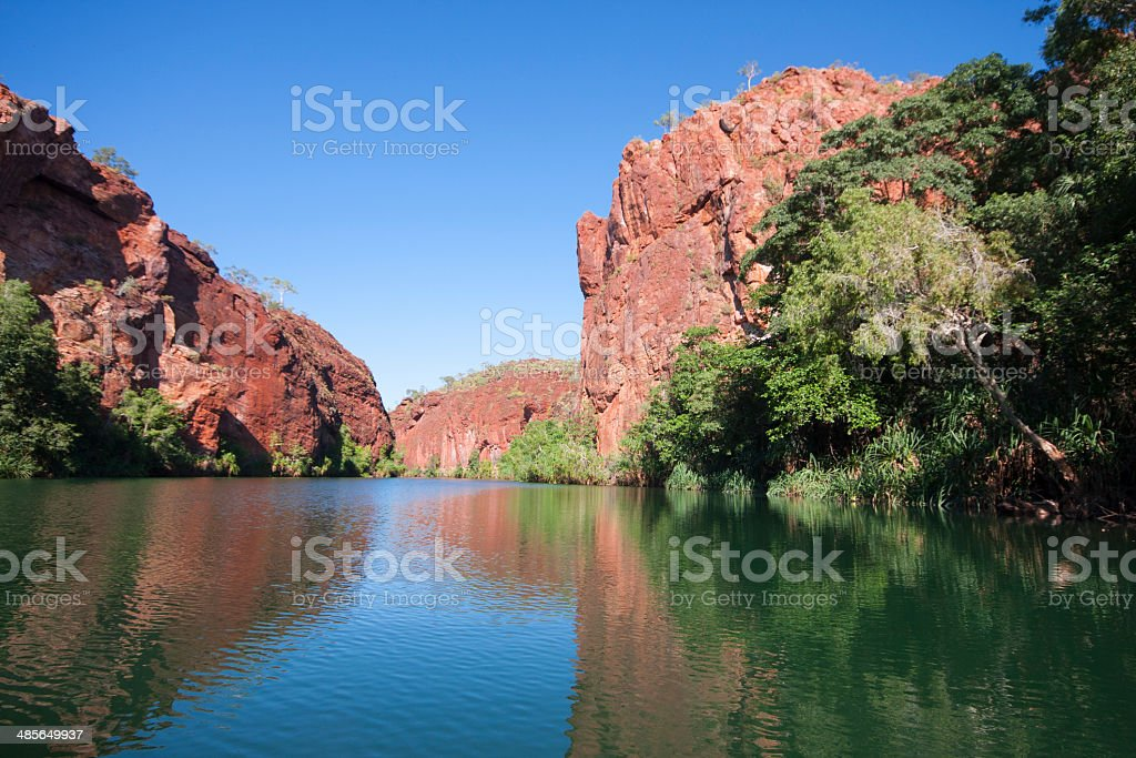 Red Rocky Outcrop, Lawn Hill Gorge stock photo