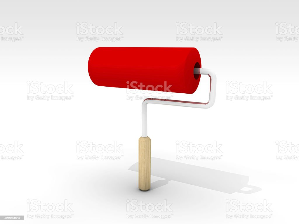 Red Roller Brush On The Ground royalty-free stock photo