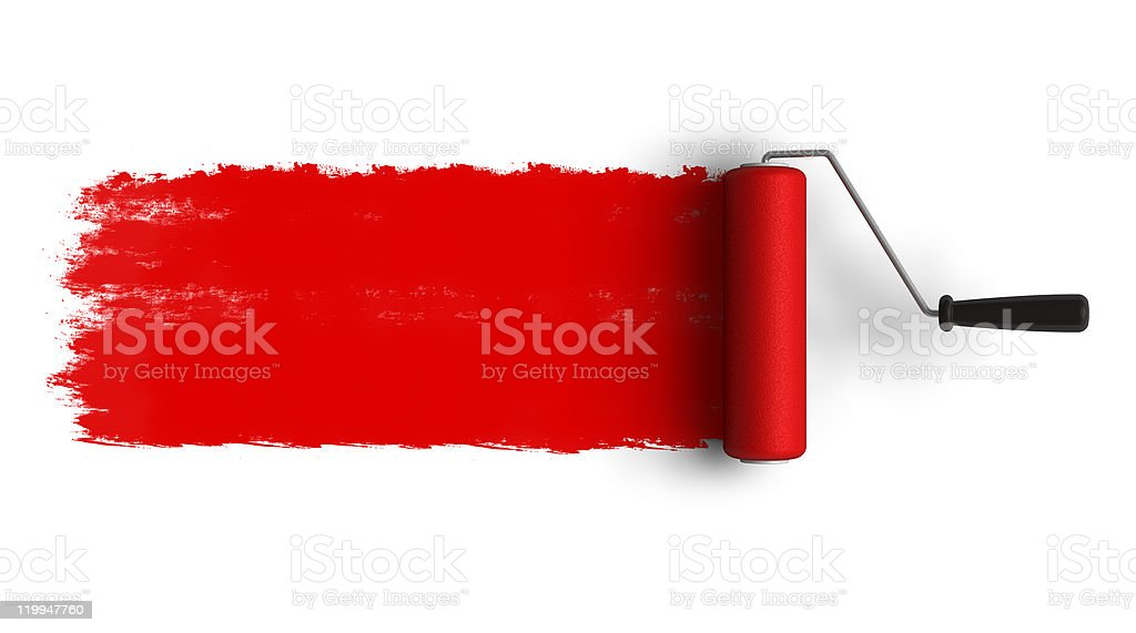 Red roller brush with trail of paint stock photo