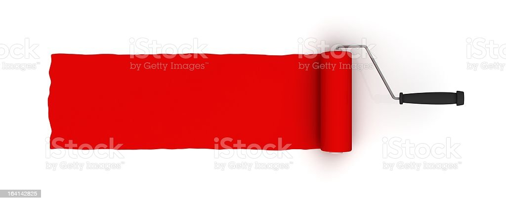 Red roller brush with trail of paint royalty-free stock photo