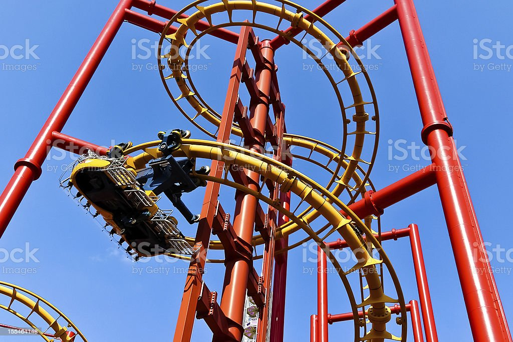 Red roller coaster royalty-free stock photo