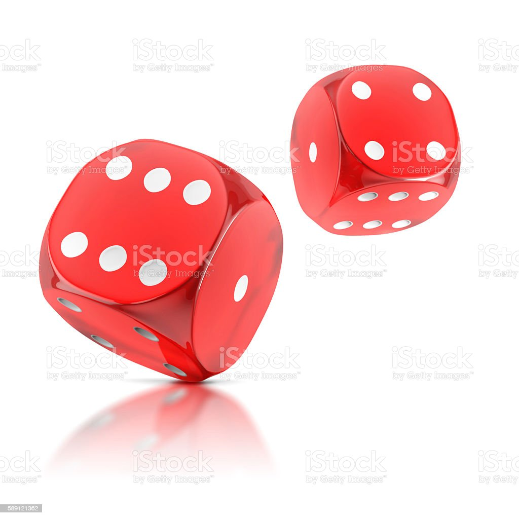 red rolling dice on a white background stock photo