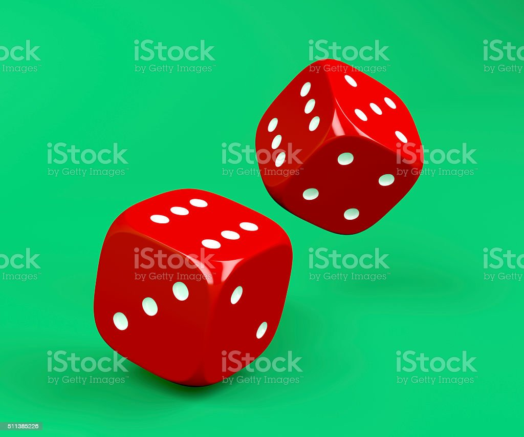 Red rolling dices stock photo