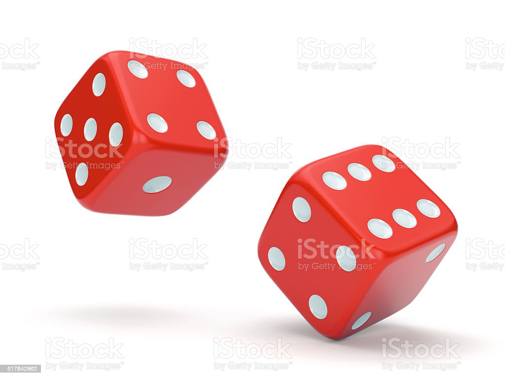 Red rolling dice stock photo