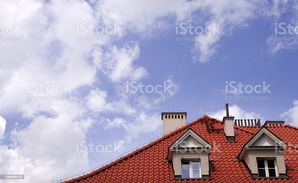 Red roof and blue sky 2 royalty-free stock photo