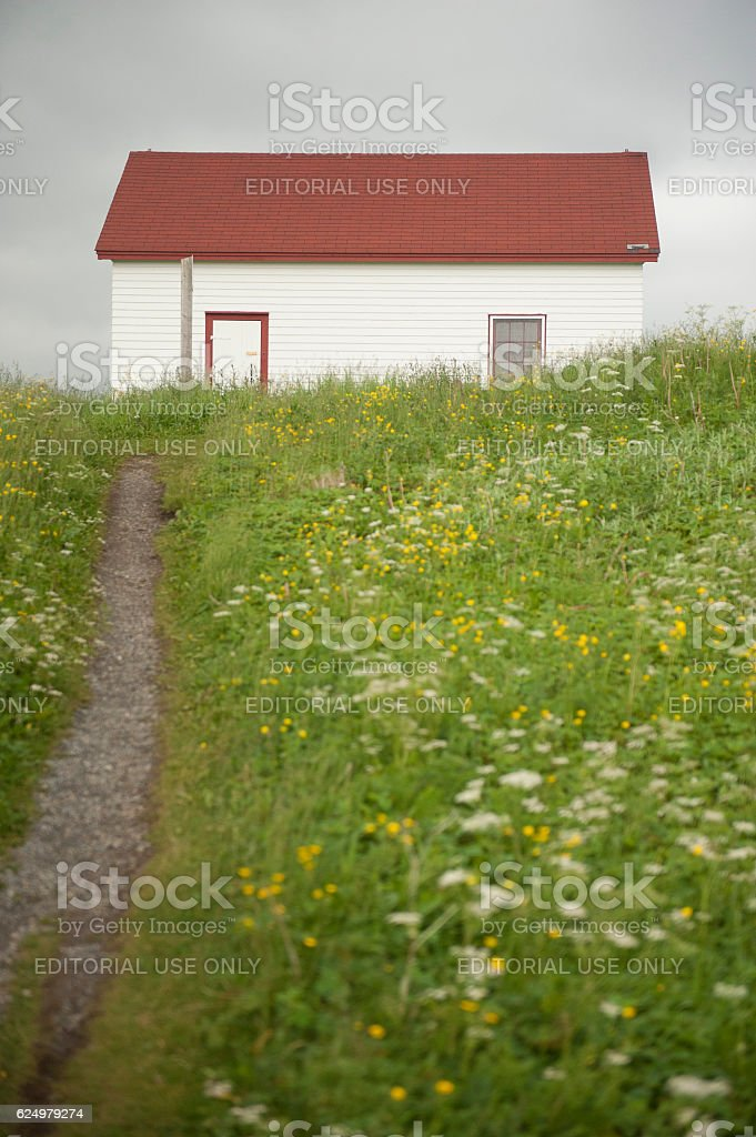 Red Roof House in Gros Morne, Newfoundland, Canada stock photo