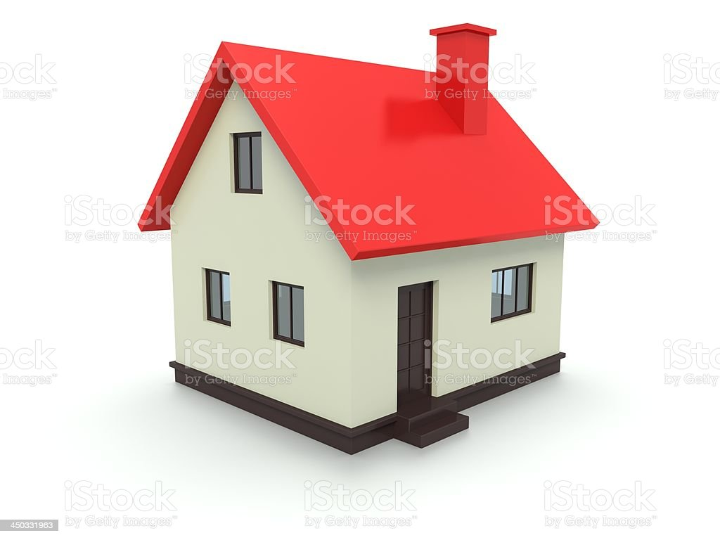 Red Roof House Isolated on White royalty-free stock photo
