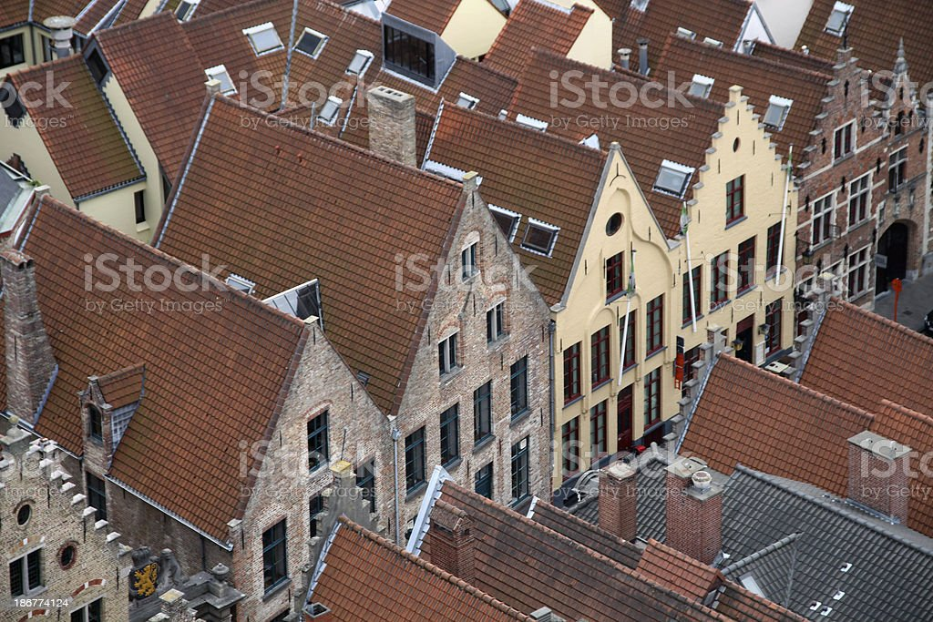 Red roofed houses in Brugge, Belgium royalty-free stock photo