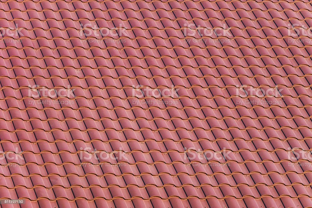 Red roofing from stainless metal plate. stock photo
