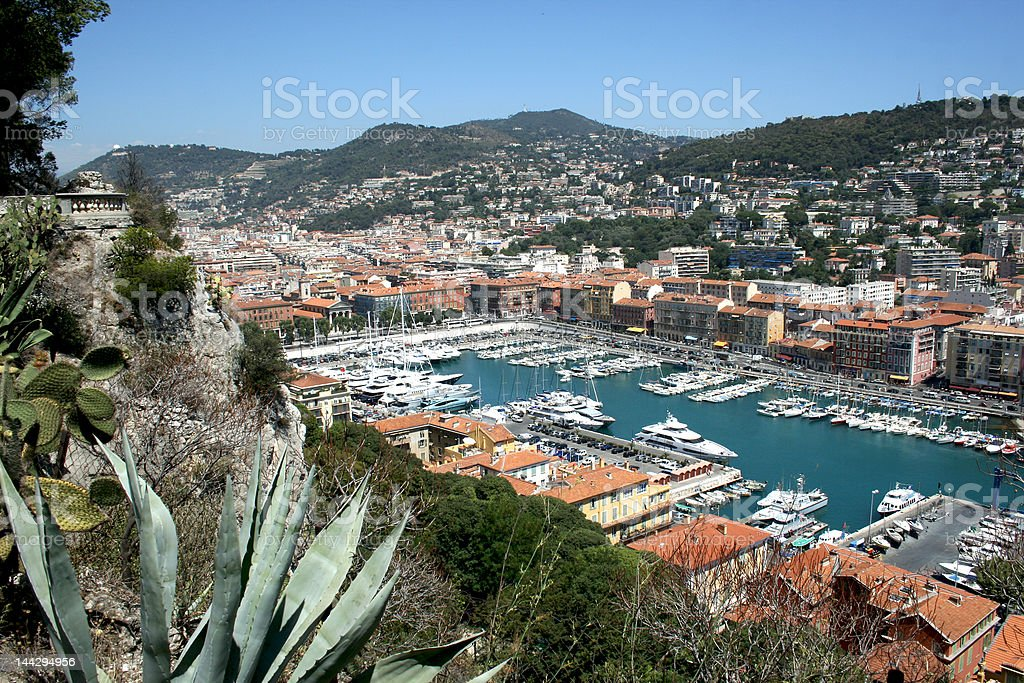 Red roofs, blue sky and water. royalty-free stock photo
