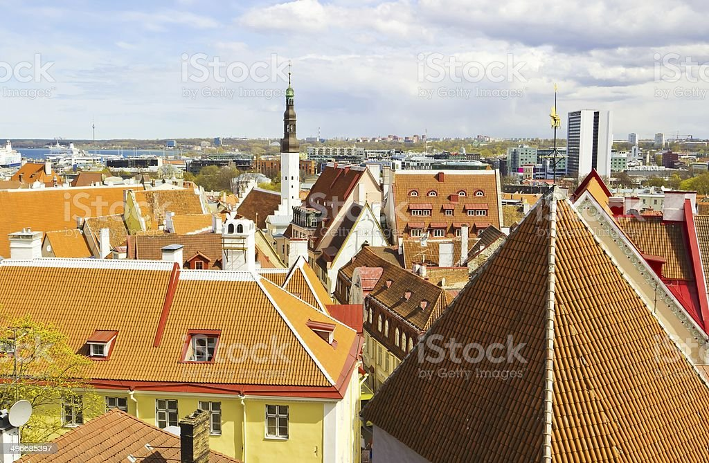 Red roofs of Old Town in Tallinn stock photo