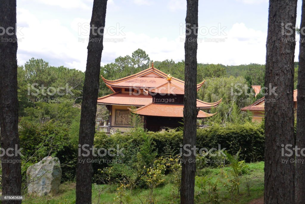 Red roofs of the Buddhist temple stock photo