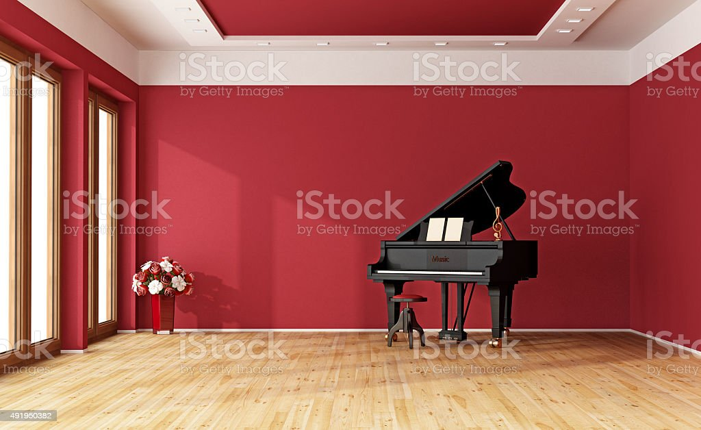 Red room with grand piano stock photo