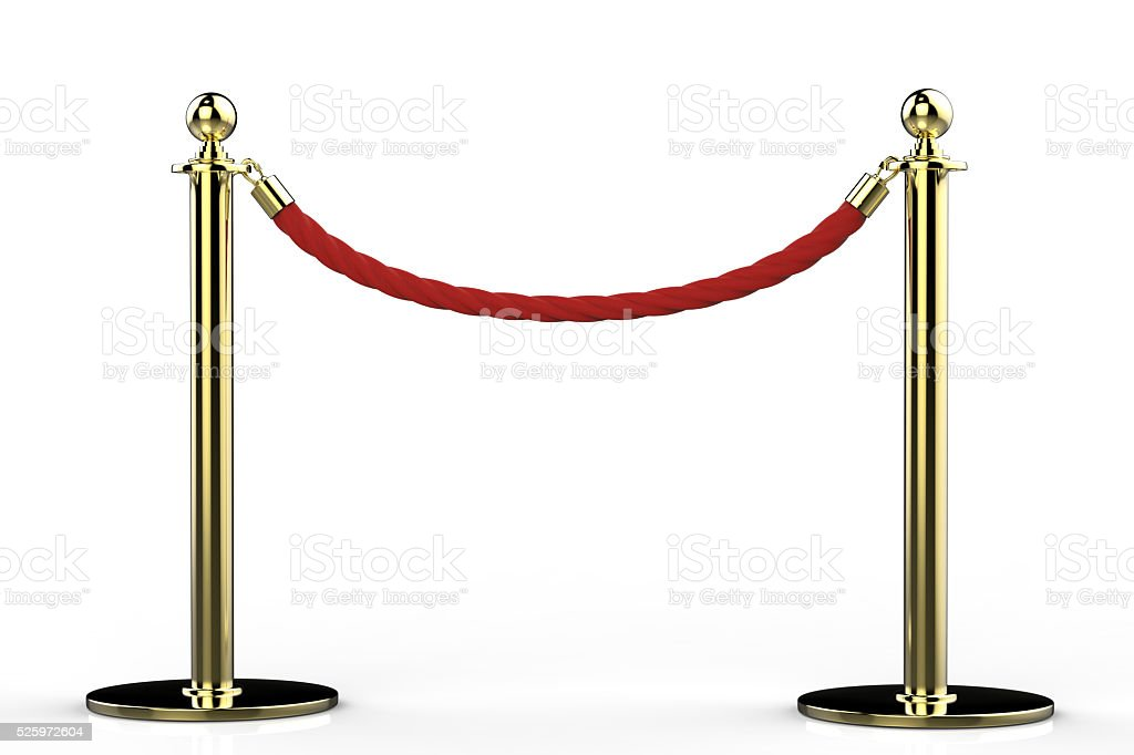 red rope barrier stock photo
