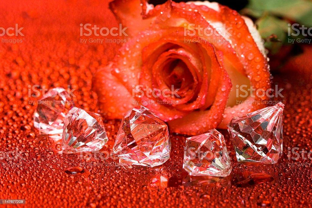 E cristais de diamante Rosa vermelha com gotas de água foto de stock royalty-free