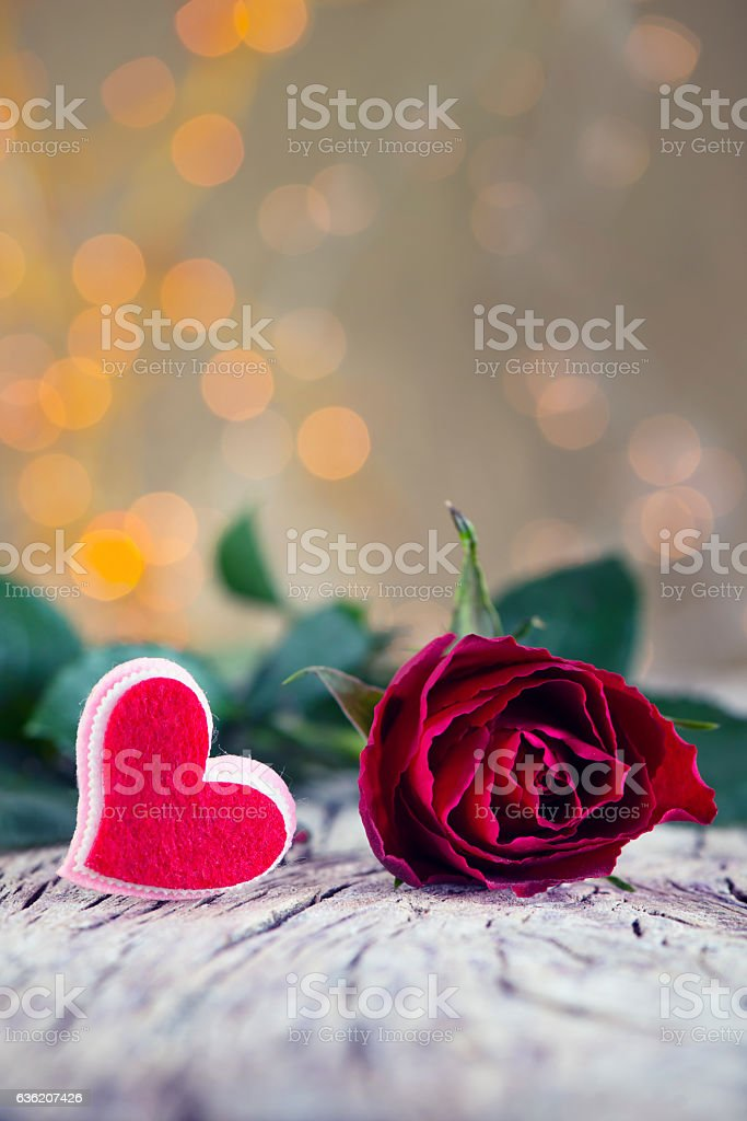 Red Rose and Heart stock photo