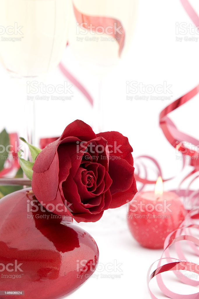Red rose and heart shape stock photo