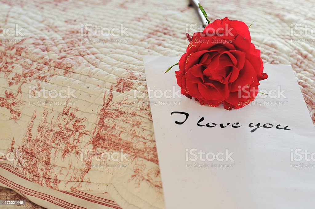 red rose and love note on bed stock photo