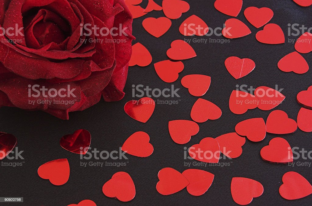 Red Rose and Shiny Hearts royalty-free stock photo