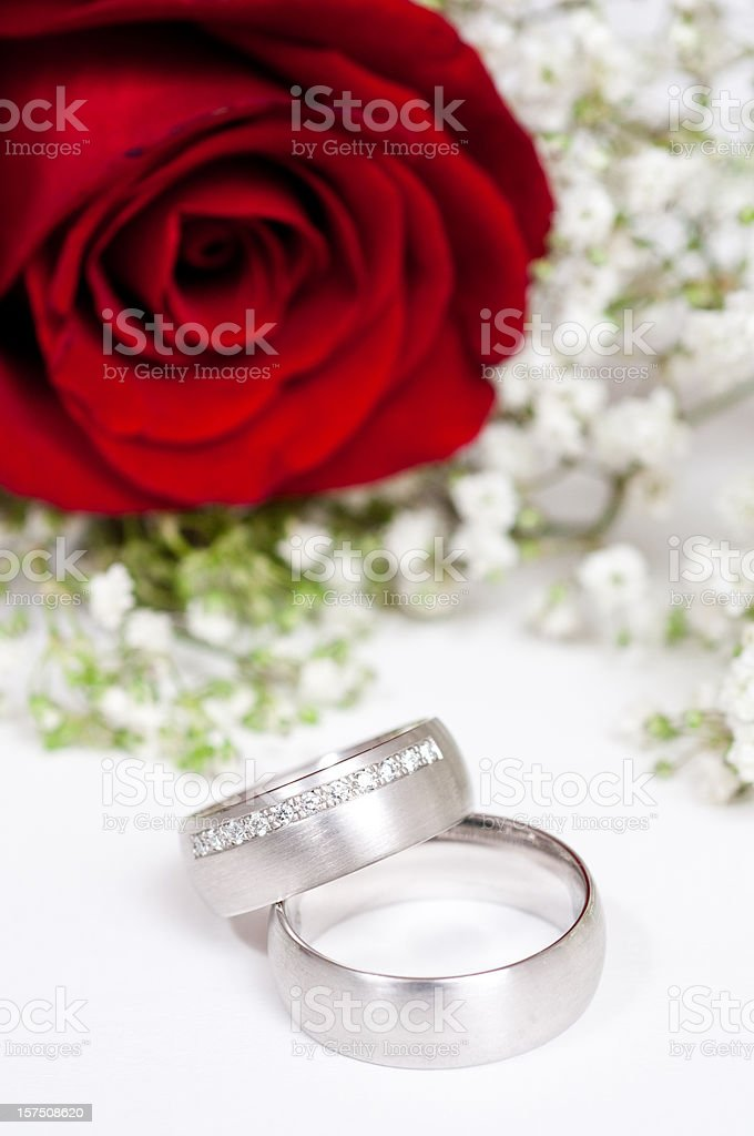 red rose and wedding ring royalty-free stock photo